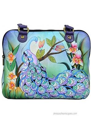 Anna by Anuschka Organizer Carry Bag-Leather Midnight Peacock