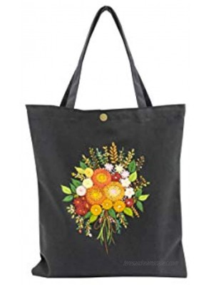Canvas handbag UYEN-T010 33x4xH34cm with long handle Black Color hand-embroidered with Chrysanthemum pattern