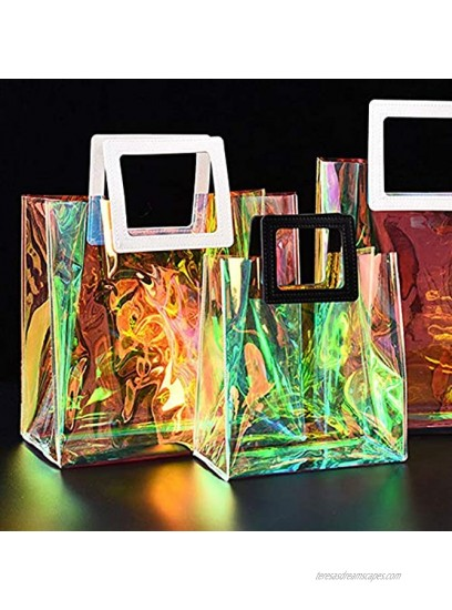 Felice Ann Colorful Holographic Transparent PVC Top-handle Bag Handbag Clear Tote Bag Gift Bags