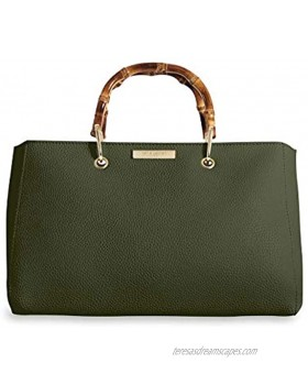Katie Loxton Avery Large Women's Vegan Leather Bamboo Top Handle Handbag Khaki