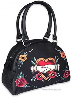 Liquorbrand Faux Leather Bowler Purse Women's Handbag Choose From Dark Goth Retro Tattoo Print Ladies Bag