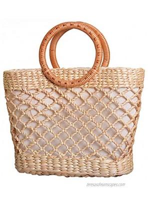 Natural Woven Straw Bag Women Handmade Chic Summer Beach Handbag