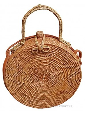 Rattan Nation Handwoven Round Rattan Bag Flower Weave Ribbon Closure with Handle