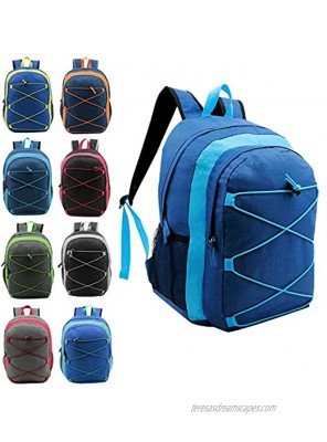 24 Pack 17 Inch Deluxe Bungee Bulk Backpacks in 8 Assorted Colors Wholesale Case of 24 Bookbags