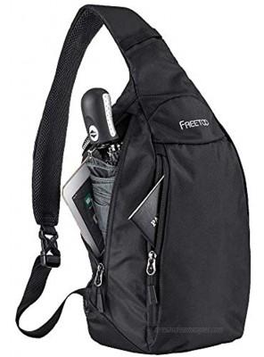 FREETOO Sling Bag Crossbody Backpack Travel Slim Shoulder Sling Backpack Chest Bag 500D Nylon for Men Women Lightweight Waterproof Black
