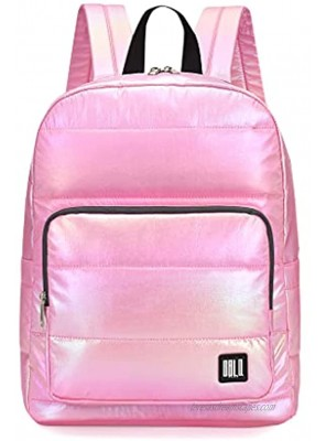 GBLQ PLUS Iridescent Backpack 15 Inch Super Lightweight Ultra Soft Nylon Shiny Fabric Casual Daypack for Boy Girl and Women Pink