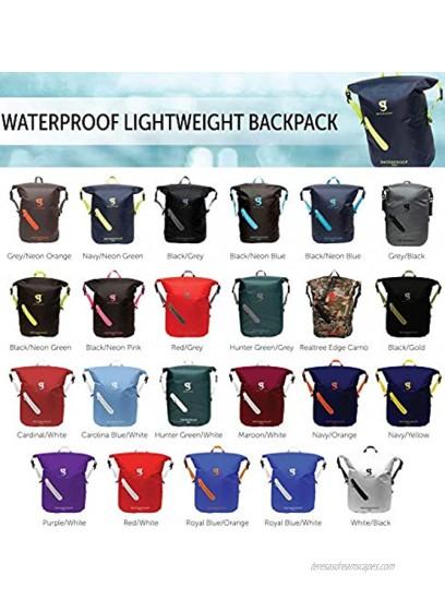 geckobrands Waterproof 30L Backpack – Lightweight Packable Dry Bag Black Grey