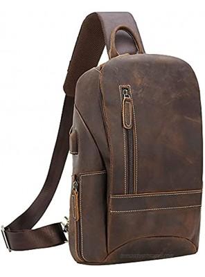 "TIDING Men's Vintage Full Grain Leather Sling Bag Travel Hiking Crossbody Chest Daypack Fits 11"" iPad"