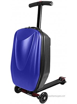 EC Homelife 20 Scooter Luggage Foldable Carry on Suitcase for Adults Ride-on Trolley Case for Travel Airport Business School Blue