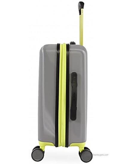 Hurley Suki Hardside Spinner Carry On Luggage 21 Light Grey Neon