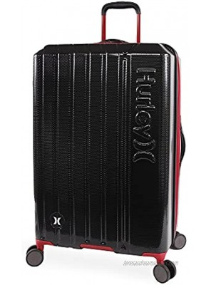 Hurley Swiper Hardside Spinner Luggage Black Red Checked-Large 29-Inch