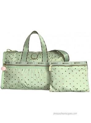 LeSportsac Les Secrets Laduree Pois Pistache Large Weekender Crossbody Bag + Cosmetic Bag Style 7185 Color G612 Macaron Zipper Pull Metallic Iridescent Gold Speckles