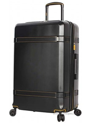 Lucas 28 Inch Checked Luggage Collection Expandable Scratch Resistant ABS + PC Hardside Suitcase Designer Lightweight Bag with 8-Rolling Spinner Wheels Tivoli Black