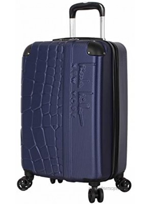 Nicole Miller New York Luggage Collection 20 Inch Carry On ABS+PC Hardside Suitcase Lightweight Designer Bag with 8-Rolling Spinner Wheels Wild Side Navy