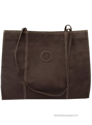 Piel Leather Carry-All Market Bag Chocolate One Size