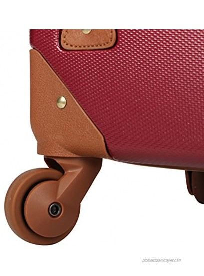 Rosetti Designer 20 Inch Carry On Luggage Lightweight Expandable Hardside Suitcase Wheels Made of 100% virgin PU Material Small Vintage Bag with 4-Rolling Spinner Wheels Burgundy