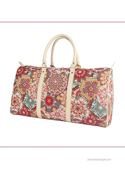 Signare Tapestry Large Duffle Bag Overnight Bags Weekend Bag for Women with Kaleidoscope Design BHOLD-KALE