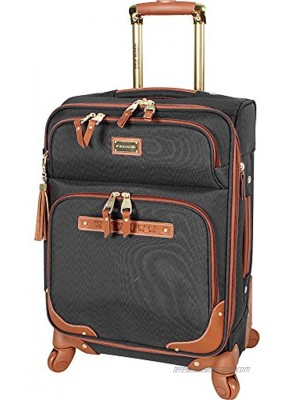 Steve Madden Designer Luggage Collection Lightweight Softside Expandable Suitcase for Men & Women Durable 20 Inch Carry On Bag with 4-Rolling Spinner Wheels 20in Global Black