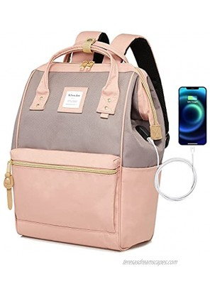Bebowden Laptop Backpack for Women School Business Travel Work Bag With USB Charging Port Fits 14 Inch Laptop Gray&Pink