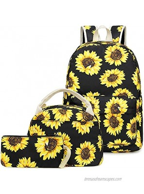 BLUBOON Girls School Backpack Bags Teens Bookbag with Lunch Box and Pencil Case Cute Sunflower-E0057