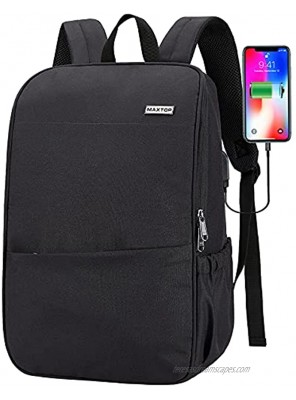 Deep Storage Laptop Backpack with USB Charging Port[Water Resistant] College School Computer Bookbag Fits 16 Inch Laptop 15.6 inch Black