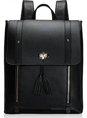 Estarer Upgraded Version Women PU Leather Backpack 15.6 Inch Laptop Backpack Vintage College School Rucksack Bag Black