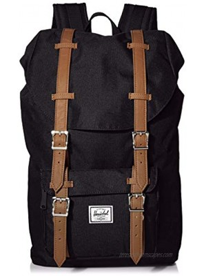 Herschel Little America Laptop Backpack Black Tan Synthetic Leather Classic 25.0L