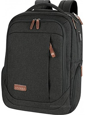 KROSER Laptop Backpack Large Computer Backpack Fits up to 17.3 Inch Laptop with USB Charging Port Water-Repellent School Travel Backpack Casual Daypack for Business College Women Men-Charcoal Black