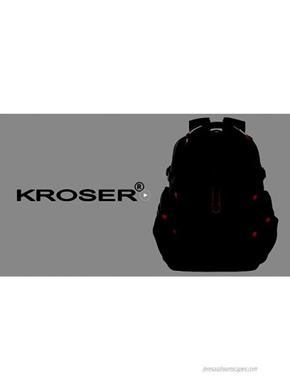 KROSER Travel Laptop Backpack 17.3 Inch XL Heavy Duty Computer Backpack with Hard Shell Saferoom RFID Pockets Water-Repellent Business College Daypack Stylish School Laptop Bag for Men Women-Black