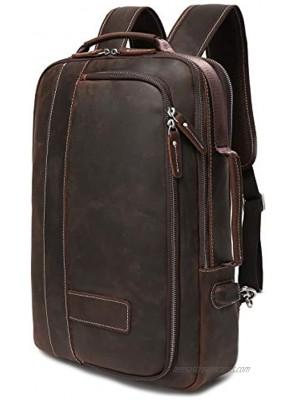 Lannsyne Men's Full Grain Leather Expandable 15.6 Laptop Backpack Tote Shoulder Travel Bag Rucksack