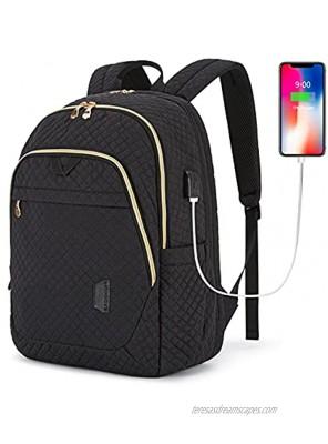 Laptop backpack Bagsmart Travel Business Backpacks with USB Charging Port 15.6 inch College School Computer Book Bag for Men Women Black