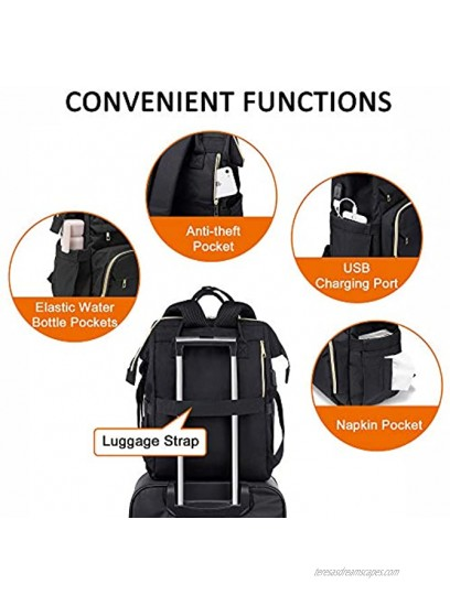 Laptop Backpack for Women Fashion Travel Bags Business Computer Purse Work Bag with USB Port Black 17-Inch
