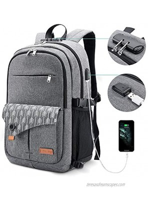 Lekesky Laptop Backpack for Women Anti-theft Laptop Travel Backpack 15.6 Inch with USB Charging Port and Lock for College School Student Bookbag Casual Hiking Daypack Grey
