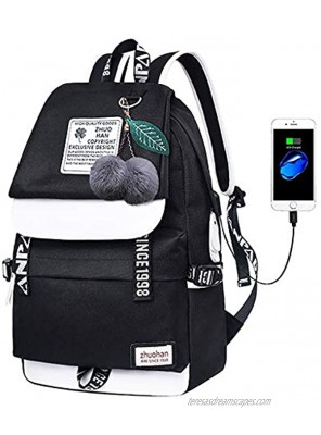 Lmeison Backpack for Girls Women Bookbag with USB Charging Port Cute Elementary Middle School Shoulder Bag for Teens