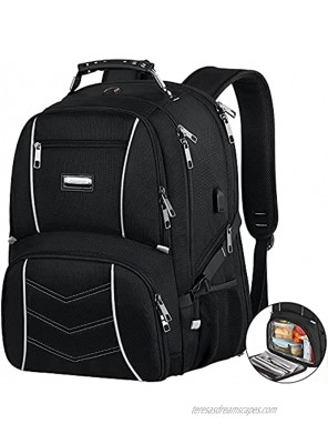 Lunch Backpack for Men Insulated Cooler Bag Lunch Box Backpack Extra Large Travel Laptop Backpack TSA Friendly RFID Durable Computer College School Bookbag with USB Port Women Fits 17.3 Inch Laptop
