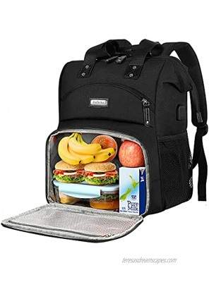 Lunch Backpack for women Insulated Cooler Backpack Lunch Box with USB charge Port RFID Anti Theft Leak-proof Waterproof Lunch Bag for School Business Travel Trip Beach Picnic Fits 15.6 Inch Laptop