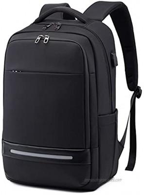 Travel Business Laptop Backpack for men,Waterproof Work Backpack 17 Inch Laptop Bag With USB Charging Port,Anti Theft Slim College School Bookbag Computer Bag Notebook Backpacks for Women Mens,Black