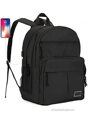 Travel Laptop Backpack for Men Waterproof College School Backpacks for Teen Girls with USB Charging Port Work Business Fits 15.6 Inch Notebooks Computer Bag Anti Theft Bagpacks for Women-Black