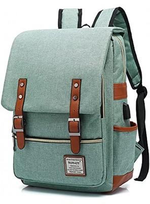 UGRACE Vintage Laptop Backpack with USB Charging Port Elegant Water Resistant Travelling Backpack Casual Daypacks School Shoulder Bag for Men Women Fits up to 15.6Inch Laptop in Green