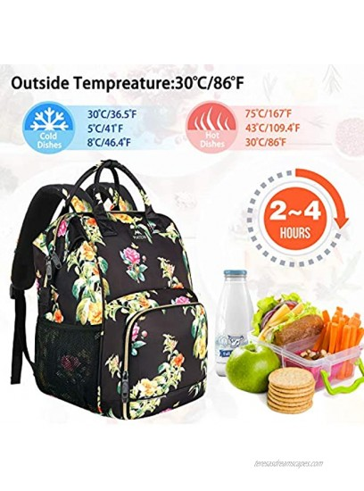 Womens Lunch Bag Insulated Lunch Box Cooler Laptop Backpack with USB Port for Women Girls Water Resistant Leak-proof College School Bookbag for Work Picnic Hiking Trip Beach Fits 15.6 Inch Computer