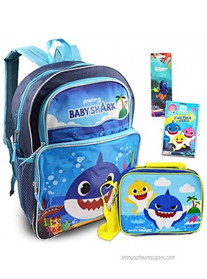"""Baby Shark Backpack and Lunch Bag for Kids ~ 4 Pc Bundle With 16"""" Baby Shark School Bag Bundle with Finding Dory Stickers Baby Shark Coloring Pages And More Baby Shark School Supplies"""
