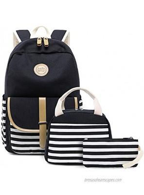 BLUBOON Canvas Bookbags School Backpack Laptop Schoolbag for Teens Girls High School Stripe Black-8893 New