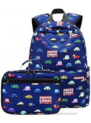 CAMTOP Backpack for Kids Boys Preschool Backpack with Lunch Box Toddler Kindergarten School Bookbag Set Y057-2 Navy Blue Car