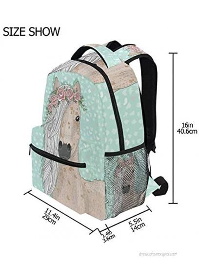 Flower Horse School Backpacks Blue Pony Student Backpack Big For Girls Boys Elementary School Shoulder Bag Bookbag Fairy Tale