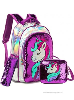 Girls 3 in 1 Backpack with Lunch Box Preschool Elementary Students