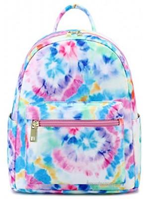 Girls Mini Backpack Womens Small Backpack Purse Teens Cute Tie Dye Travel Backpack Casual School Bookbag Blue