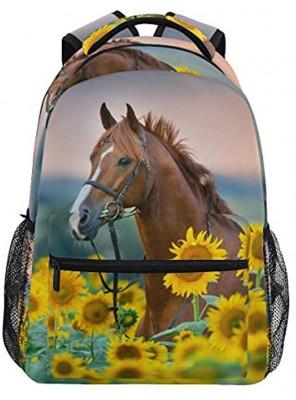 Horse Sunflowers Backpack Girl Backpacks for School Elementary Cute Bookbags for Girls 3rd 4th 5th Grade