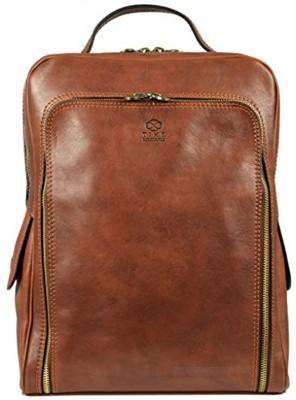 Leather Backpack Rucksack City Bag Unisex Matt Brown Time Resistance