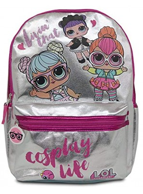 LOL Dolls Girl's Backpack with Glitter Print and Zipper Details