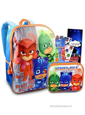 PJ Masks School Backpack With Lunch Box For Kids ~ 4 Pc Bundle With 16 PJ Masks School Bag Lunch Bag Stickers And More Featuring Catboy Owlette And Gekko